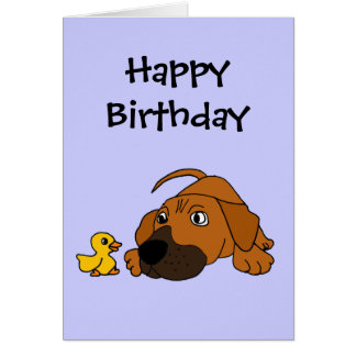 BZ- Brown Puppy Dog with Rubber Duck Cartoon Greeting Card