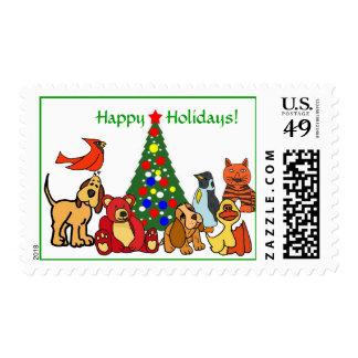 BZ- Happy Holidays Animal Postage
