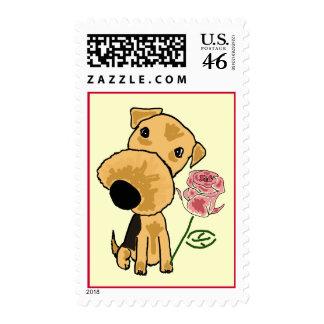 BZ perrito Terrier con un franqueo color de rosa