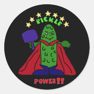 BZ- Pickle Power Superhero Pickleball Cartoon Classic Round Sticker