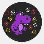BZ- Purple Hippo and Daisies Art Round Stickers