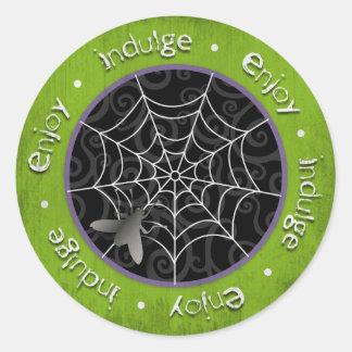 Bzz Gross Flies and Spider Webs for Halloween Classic Round Sticker