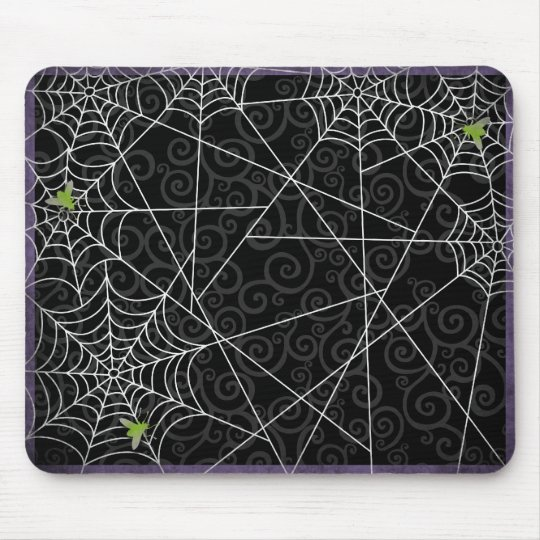 Bzz Gross Flies and Spider Webs for Halloween Mouse Pad