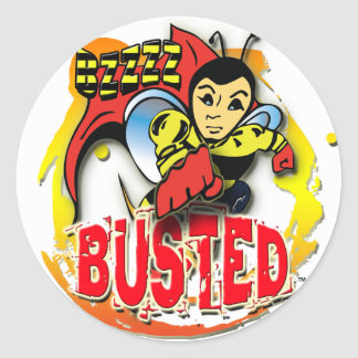 Bzzzz Busted Bee Round Sticker