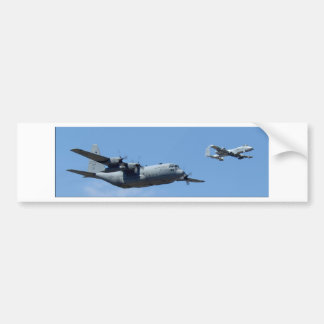 C130 HERCULES AND A10 WARTHOG IN FORMATION BUMPER STICKER