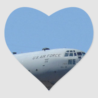 C130 HERCULES AND A10 WARTHOG IN FORMATION HEART STICKER