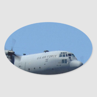 C130 HERCULES AND A10 WARTHOG IN FORMATION OVAL STICKER