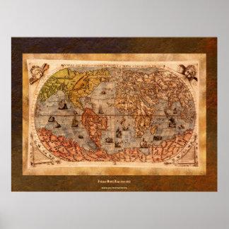 c1490 Antique World Map Art w Organic Border Poster