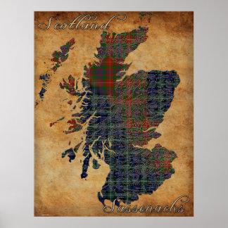 C18th Scotland and Sassenachs Map Art Poster