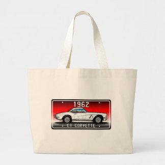C1 1962 Corvette License Plate Art-Red Background Bags