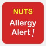 c1 - Alarma de la alergia - NUECES Calcomanía Cuadrada