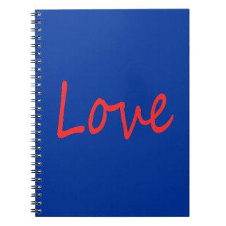 C23 RED LOVE BLUE BACKGROUND FEELINGS HAPPY RELATI NOTE BOOKS