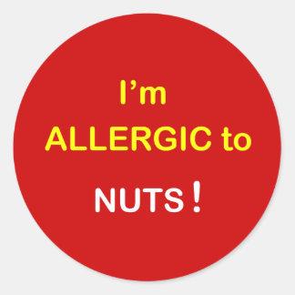 c2 - Soy alérgico - las NUECES Etiquetas Redondas