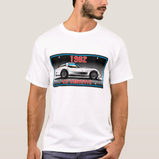 C3 1982 Corvette License Plate Art-Gray Background T-Shirt