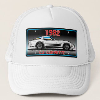C3 1982 Corvette License Plate Art-Gray Background Trucker Hat