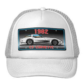 C3 1982 Corvette License Plate Art-Gray Background Trucker Hat