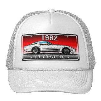 C3 1982 Corvette License Plate Art-Red Background Hats