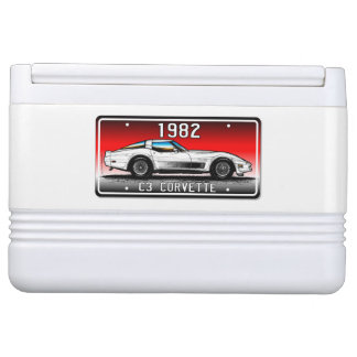 C3 1982 Corvette License Plate Art-Red Background Igloo Can Cooler