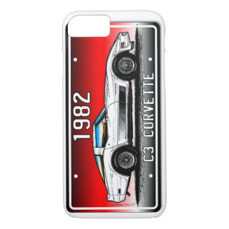 C3 1982 Corvette License Plate Art-Red Background iPhone 8/7 Case