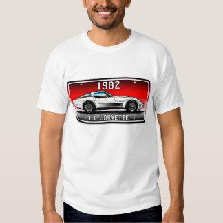 C3 1982 Corvette License Plate Art-Red Background T-Shirt