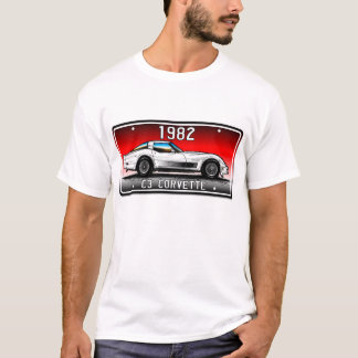 C3 1982 Corvette License Plate Art-Red Background T-Shirt