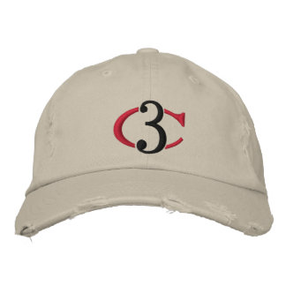 C3 Logo Distressed Chino Adjustable Hat Baseball Cap