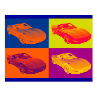 C5 Corvette convertible Muscle Car Pop Art Postcard
