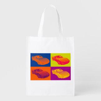 C5 Corvette convertible Muscle Car Pop Art Grocery Bag