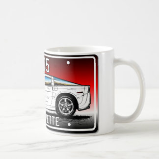 C6 2005 Coupe Red Background Vette Lic Plate Art Coffee Mug