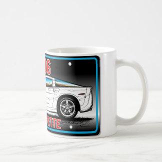 C6 2006 Corvette License Plate Art-Gray Background Coffee Mug