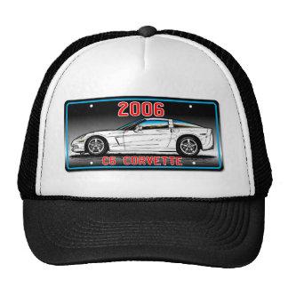 C6 2006 Corvette License Plate Art-Gray Background Trucker Hat