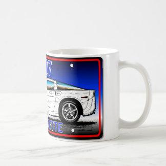 C6 2007 Coupe Blue Background Vette Lic Plate Art Coffee Mug