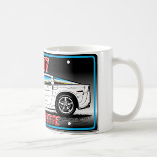 C6 2007 Coupe Gray Background Vette Lic Plate Art Coffee Mug