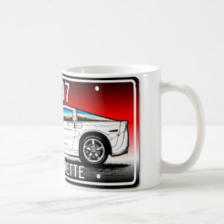 C6 2007 Coupe Red Background Vette Lic Plate Art Coffee Mug