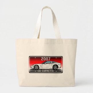 C6 2007 Coupe Red Background Vette Lic Plate Art Large Tote Bag