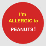 c8 - Soy alérgico - los CACAHUETES Pegatina Redonda