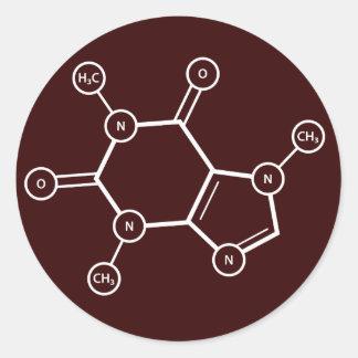 C8H10N4O2 molecular structure Classic Round Sticker