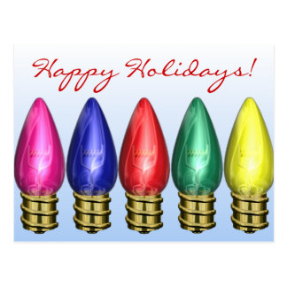 C9 Light Bulbs Christmas Holiday Postcar Postcard