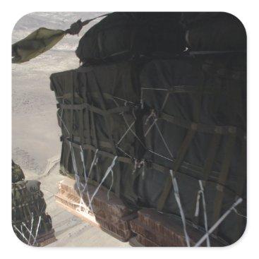 C-130 COMBAT AIRDROP AFGHANISTAN SQUARE STICKER