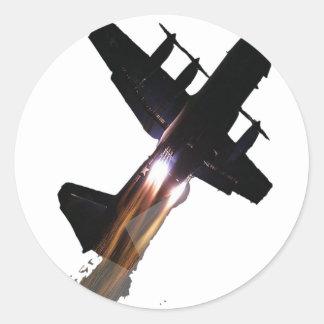 C-130 CON JATOS ENCENDIDO PEGATINAS REDONDAS