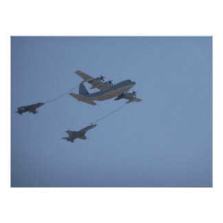 C-130 HERCULES mid  air  refueling Poster