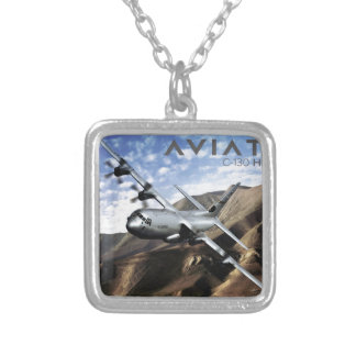 C-130 HERCULES Military Airplane Silver Plated Necklace