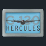 "C-130 Hercules Rectangular Belt Buckle<br><div class=""desc"">The venerable C-130 Hercules in all its grungy glory. Salute this veteran transport as it nears its 60th year in the air!</div>"