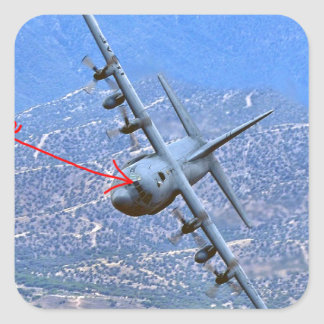 C-130 LOW LEVEL SQUARE STICKER