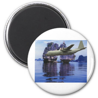 C-130 Somewhere in the South Pacific 2 Inch Round Magnet