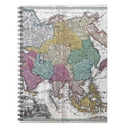 C. 1730 Homann Map de Asia Geographicus Asiae Libros De Apuntes Con Espiral
