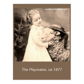 c 1877 The playmates, little girl, sheep Postcard