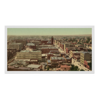 c 1900 Wonderful hand-colored Los Angeles Panorama Poster