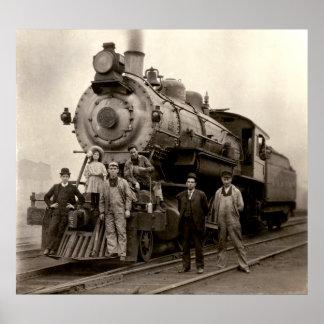 C 1905 tren de ferrocarril impresiones
