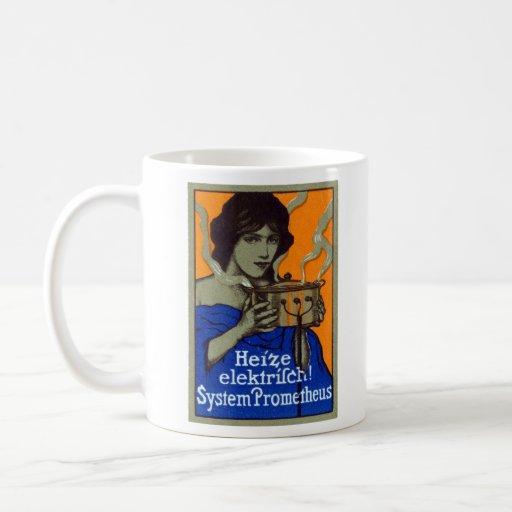 C. 1910 poster de cocinar alemán tazas de café
